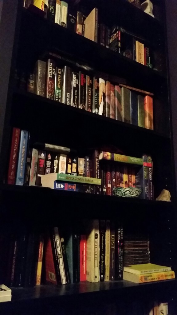 Yes, this is my bookshelf.  Kim Harrison and J.K. Rowling are awarded prime real estate.